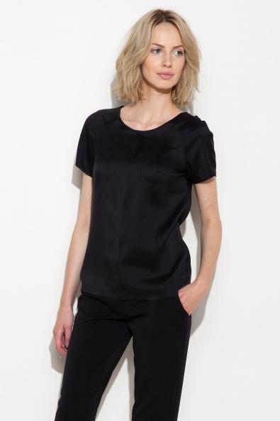 Czarna bluzka z jedwabiu z krótkim rękawem