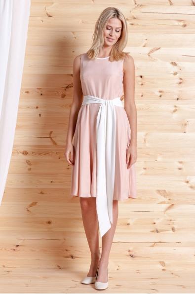 Sukienka z jedwabiu pudrowy róż klosz