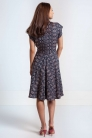 Sukienka ze skosu z granatowej wiskozy. Beata Cupriak