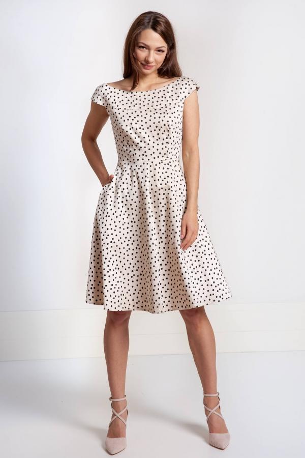 73f9a2dff Szeroka sukienka beżowa w groszki z elastycznej bawełny. Beata Cupriak