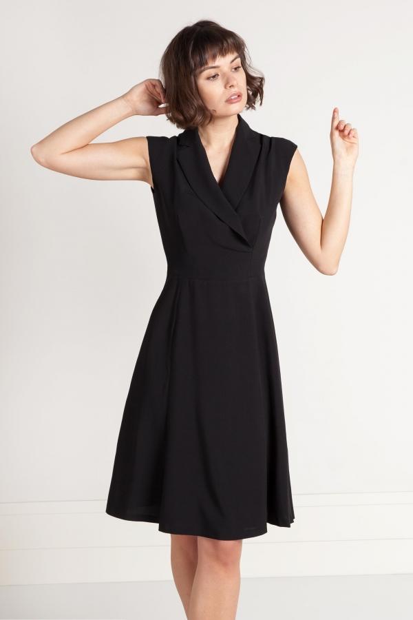 6bac5a631 Czarna sukienka z wiskozy z kopertowym dekoltem. Mała czarna - Beata Cupriak