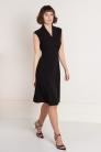 Czarna sukienka z wiskozy z kopertowym dekoltem. Mała czarna - Beata Cupriak