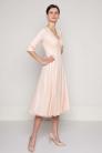 Suknia różowa z koronki z kopertową górą
