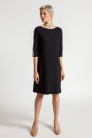 Sukienka Ellen      z lamówkami       herbaciany beż i czarna