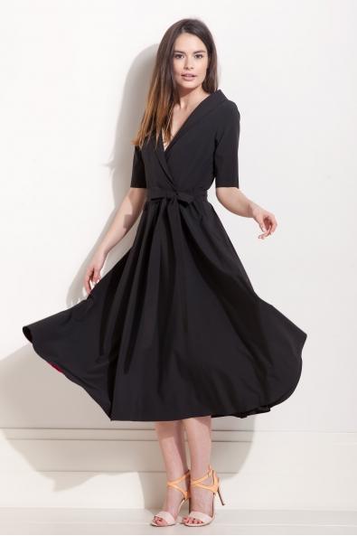 Sukienka długa kopertowa czarna